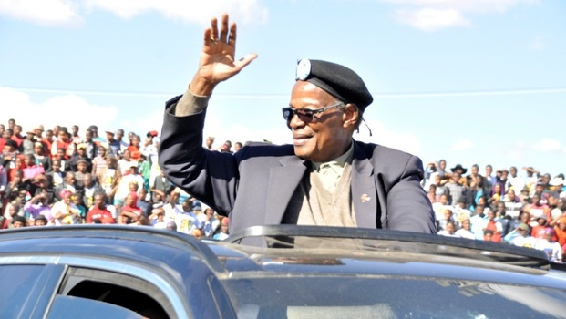 A file image of IFP leader Inkosi Mangosuthu Buthelezi greeting thousands of supporters at Inkandla.