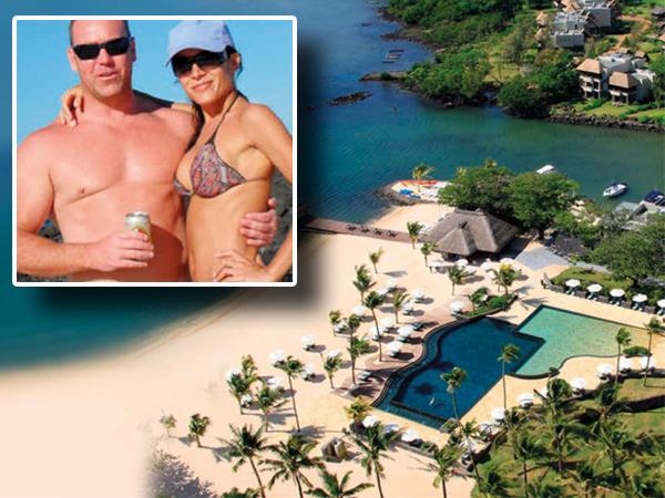INLAS: Lee Ann en Peter Wayne Roberts. HOOFFOTO: Anahita Resort in Mauritius, waar Lee Ann Palmarozza dood is. FOTO: Verskaf