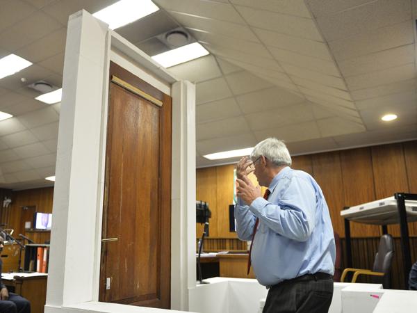 Die forensiese deskundige  Wollie Wolmarans demonstreer iets in die hof op 9 Mei. (Foto: Herman Verwey/Media24/Sapa)