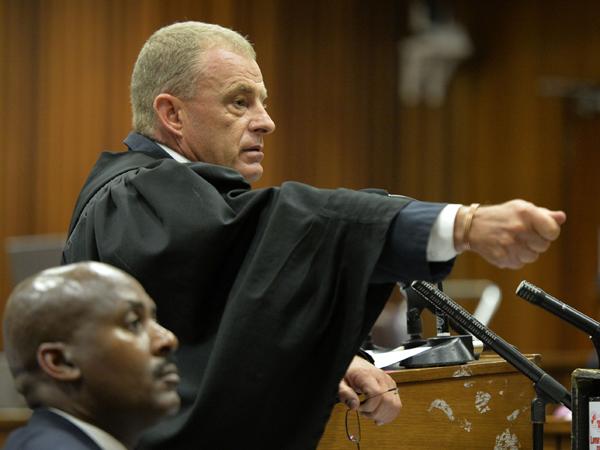 Adv. Gerrie Nel vir die Staat besig met kruisondervraging. (Foto: Herman Verwey/Media24/Sapa)