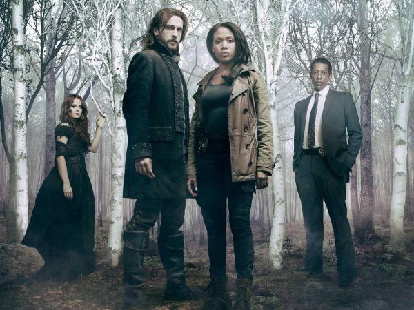 Die hoofkarakters van Sleepy Hollow (van links): Katrina (Katia Winter), Ichabod (Tom Mison), Abbie (Nicole Beharie) en kapt. Frank Irving (Orlando Jones).