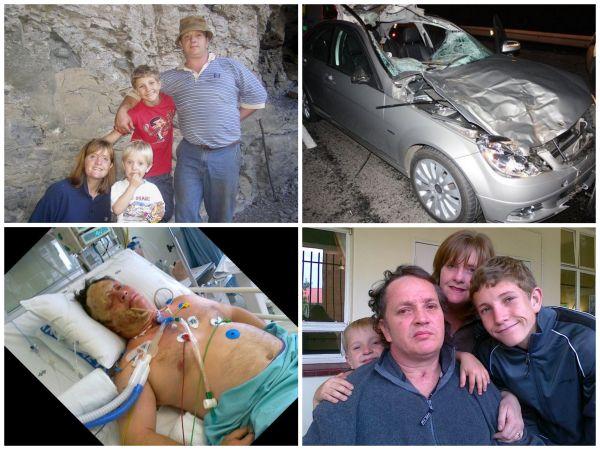 Regsom van links bo: Op  'n gesinsuitstappie, die motor ná die ongeluk, Jackie in intensiewe sorg, en ons kuier by die rehab.