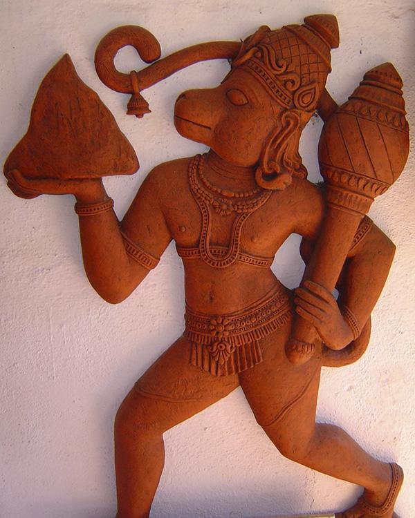 Dié kunswerk beeld Hanoeman uit met die gada in sy linkerhand. Bron: wikimedia.org