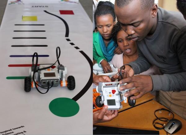 LINKS: Een van die robotkarretjies navigeer die padkaart wat die spanne se vaardighede toets. REGS: Siyabonga Nicholas Ndimeni en sy span sit hul robotkarretjie aanmekaar.