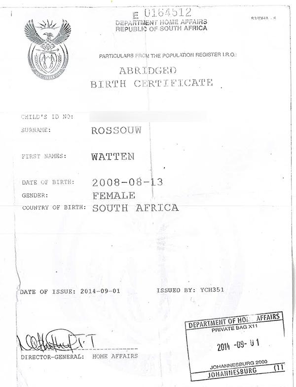 warren geboortesertifikaat