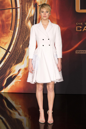 Jennifer Lawrence attends The Hunger Games: Catching Fire Germany premiere at Sony Centre in Munich