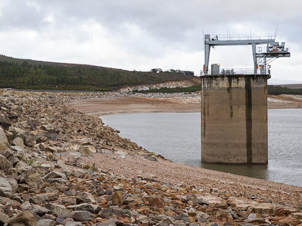 Theewaterskloof Dam in October 2010 was over 90% full. Photo from Google Maps