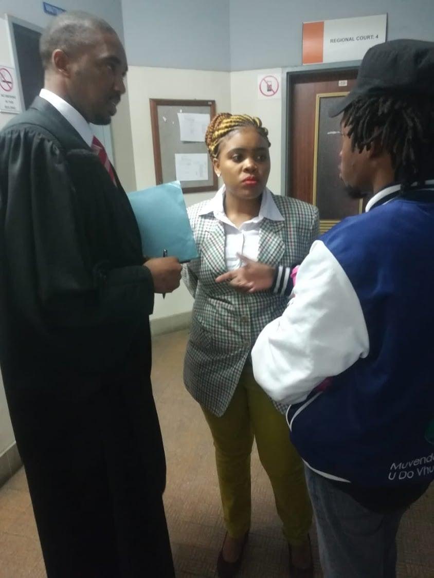 Sibongile Mani with her lawyer Asanda Pakade at the East London Magistrates' Court. Picture: Malibongwe Dayimani/DispatchLIVEPHOTO: