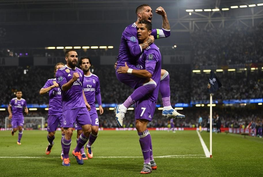Cristiano Ronaldo of Real Madrid celebrates scoring his sides first goal with Sergio Ramos of Real Madrid during the UEFA Champions League Final between Juventus and Real Madrid at National Stadium of Wales on June 3, 2017 in Cardiff, Wales. Picture: David Ramos/Getty Images