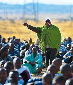 Some of the protesting Marikana miners in August 2012. (File, Leon Sadiki, City Press)