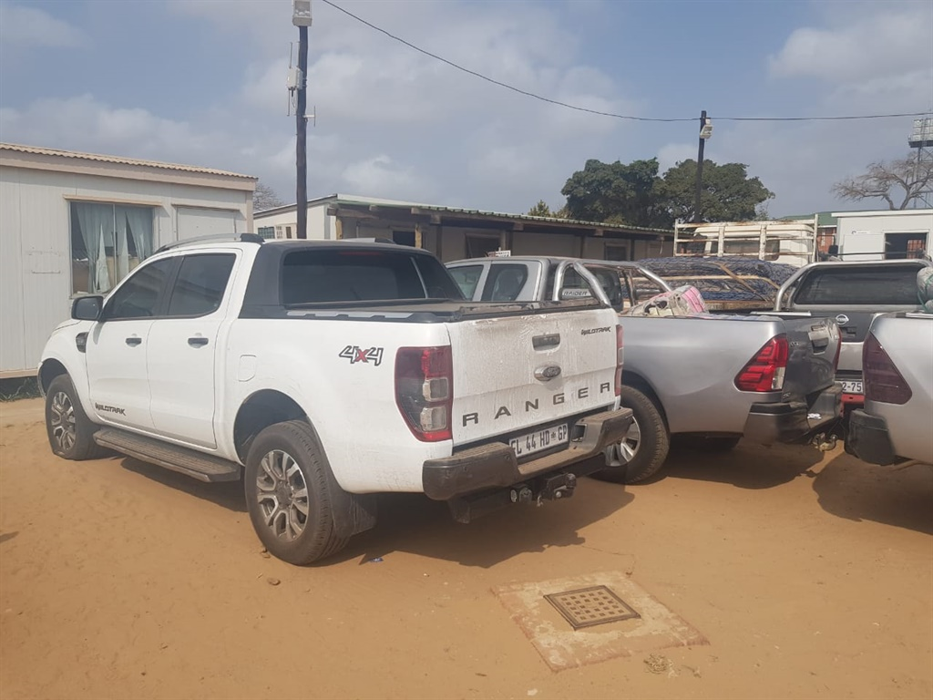 Some of the stolen vehicles seized by police.