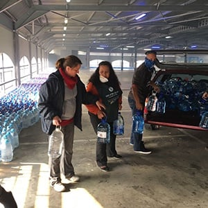 Water donations being received by Gift of the Givers. Over 5000 bottles has been received from Gauteng. (James de Villiers, News24)