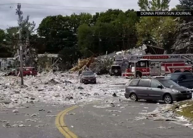 A propane explosion has left a firefighter dead and several injured in Maine. (Screen grab, AP)