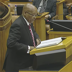 President Jacob Zuma answers questions in Parliament.