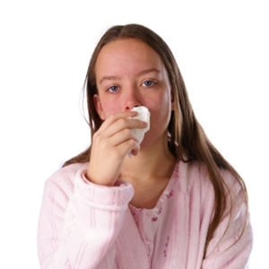 Sick teen with green mucus