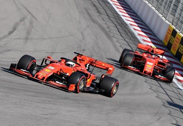 Ferrari's Sebastian Vettel (L) leads Charles Leclerc during the Formula 1 Russian Grand Prix at The Sochi Autodrom Circuit in Sochi. <i> Image: AFP / Dimitar DILKOFF </i>