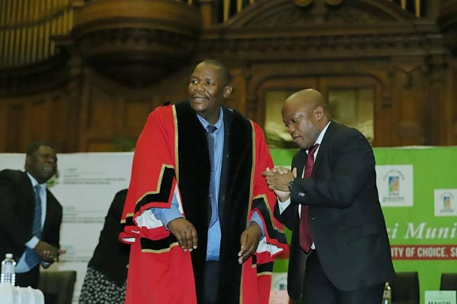 Mayor Mzimkhulu Thebolla with Premier Sihle Zikalala during the swearing in of the City's new leadership on Thursday.