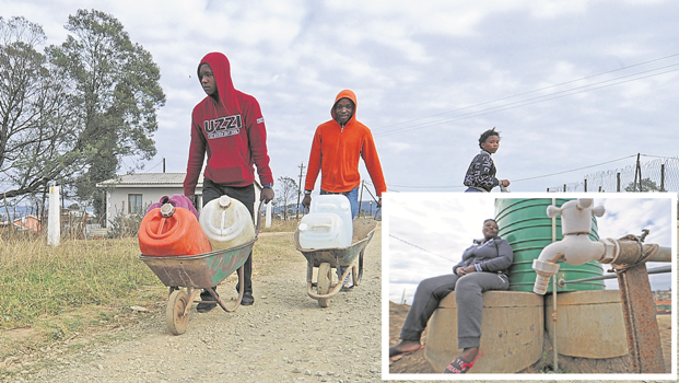 Ezinketheni residents have to walk miles to get water. INSET: Ezinketheni resident Nomusa Masikane sits next to one of the Jojo tanks in the area that have not had water since December last year. Local residents said numerous attempts to get answers from Msunduzi Municipality have proved fruitless.