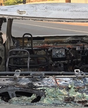 The burnt wreckage of the car. (Alex Mitchley, News24)