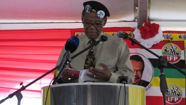 IFP leader Prince Mangosuthu Buthelezi addressing a crowd of hundreds at the IFP Women's Day rally that was held at Dales Park sports grounds on Sunday.