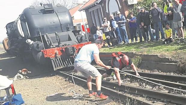 Mark Parsley pulling a steam train at the 2017 Creighton Aloe Festival on Sunday.