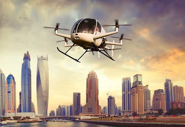 Drone transporting people in dubai