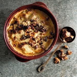 Brinjal and mushroom lasagne