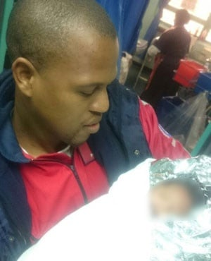A new-born baby girl, swaddled in a blanket, was found abandoned on the doorstep of a Pietermaritzburg home. (Supplied, ER24)