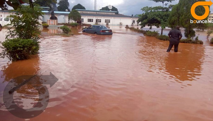 flood in government offices in Asaba.