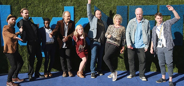 The cast of Dominee Tienie on the blue carpet at The Silwerskerm Film Festival. (Photo: Nardus Engelbrecht/Channel24)