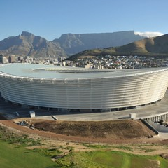 Cape Town Stadium with the city backdrop.