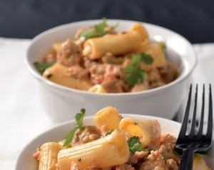 Pasta and sausage meat sauce