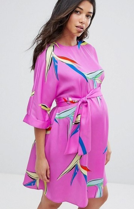 ASOS-Maternity-Belted-Dress-in-Abstract-Floral