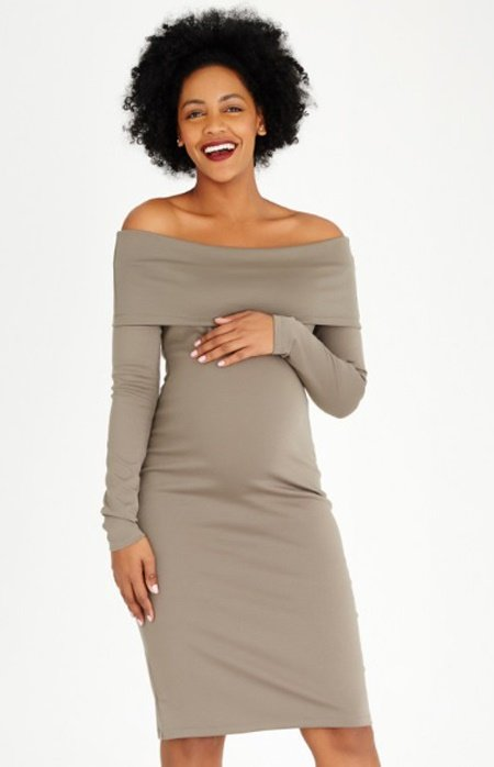 Bardot-Neckline-Midi-Dress-Khaki-Green Spree