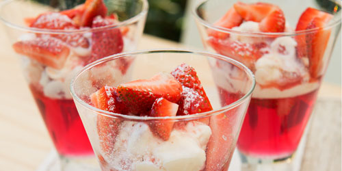 Strawberries and pineapple fruit cups