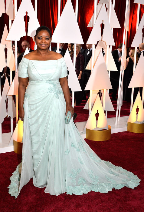Sexy shoulders: Actress Octavia Spencer attends the 87th Annual Academy Awards at Hollywood & Highland Center on February 22, 2015 in Hollywood, California. Photo: Lester Cohen/WireImage
