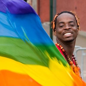 Displaying the rainbow flag of gay rights activists: Despite vocal opposition in a number of African countries, acceptance is slowly gaining ground.