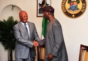 The Special Envoy to Nigeria, Minister Jeff Radebe meeting with the Governor of Lagos State Babatunde Raji Fashola
