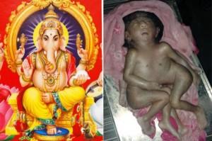 Jharkhand, India, Hindu, god , Ganesha,  baby, eight limbs, four arms, four legs,   (1)