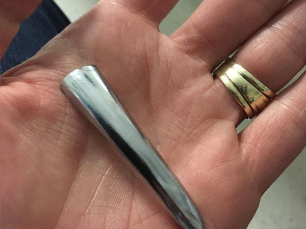 The door handle that was lodged in Rynos' eye. It was about five centimetres long. PHOTO: Netcare 911