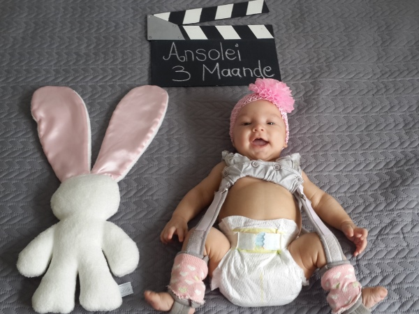 Ansolei's legs couldn't be allowed to straighten, even when having her nappy changed. PHOTO: Supplied