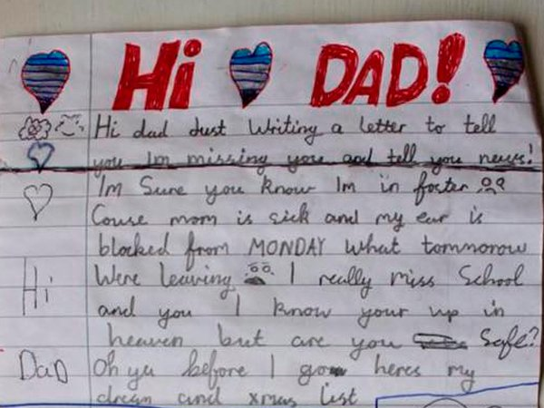 little boy pens heartrending christmas letter to his late dad