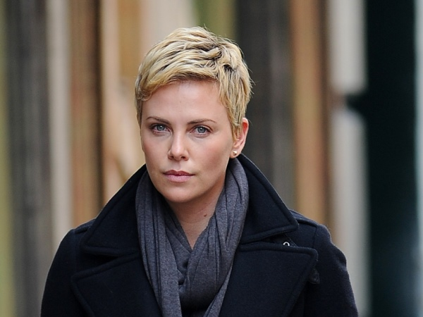 Charlize Theron out in Union Square for lunch with a friend
