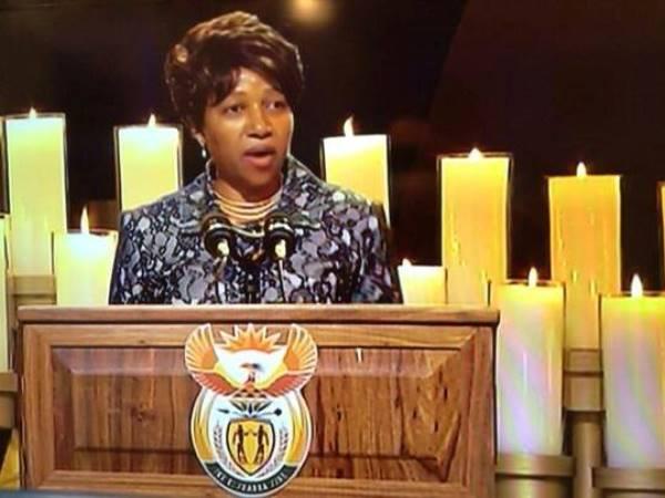 Nandi Mandela speaks at her grandfather's funeral in Qunu
