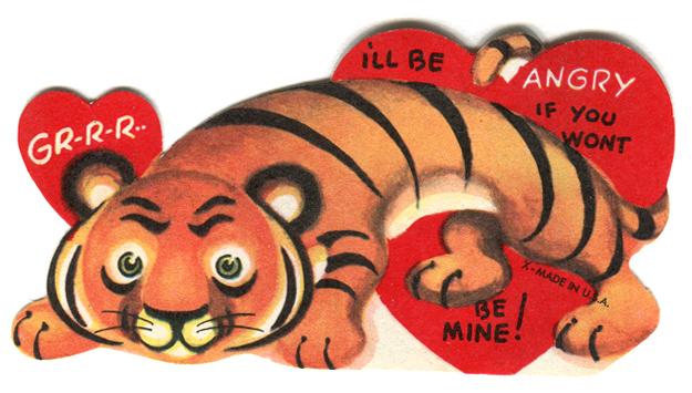 vintage valentine: tiger and  hearts