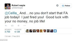 Robert Waple, Cella's new boss was not impressed by her offensive tweets. PHOTO: Twitter