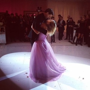 So in love! The newlyweds share their first dance.
