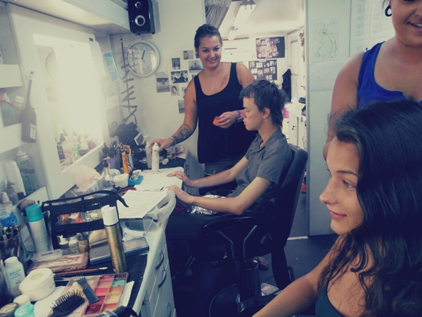 In the make-up trailer
