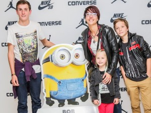 "5fm DJ and mom of three, Catherine Grenfell and her kids (from left to right) Noah (14), Holly (5) and Aaron (12) thought the Minions movie was worth a second watch as the family were ""super amped"" to see their favourite little creatures in yellow in action again after already seeing the film before."