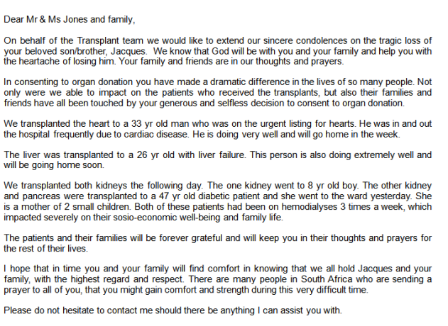 The letter from the Netcare transplant team explaining how the donated organs saved other people's lives.